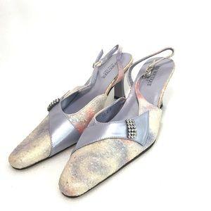 Silver Purple Block Heels Size 38 Womens  Pumps